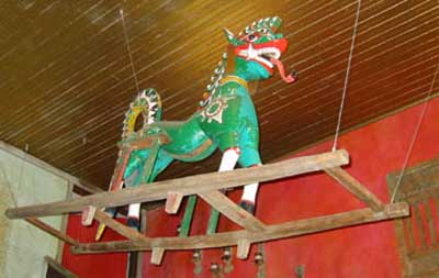 cool Indonesian horse hanging from Noodle House ceiling